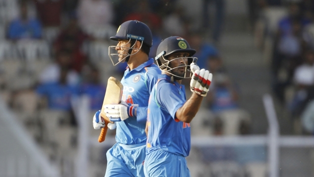 M.S. Dhoni and Ambati Rayudu during the fourth ODI between India and West Indies, at Brabourne Stadium in Mumbai, on Oct 29, 2018.
