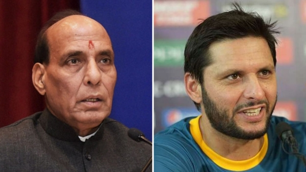 File photos of Rajnath Singh (L) and Shahid Afridi.