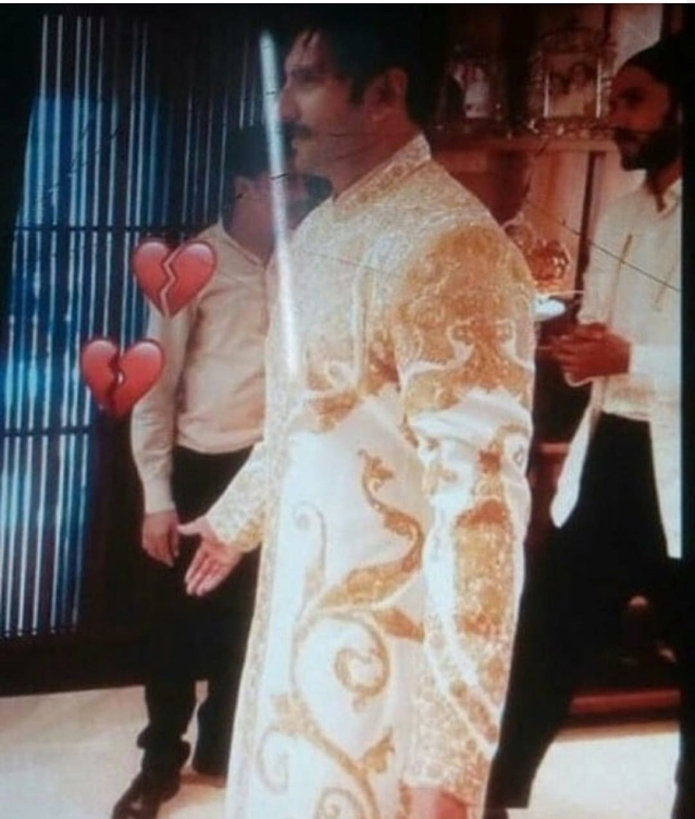 Ranveer Singh in his white-and-gold wedding finery.