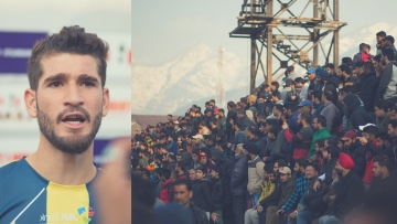 Danish Farooq (left) and the crowd witnessing the first-ever I-League match in Kashmir on Tuesday.