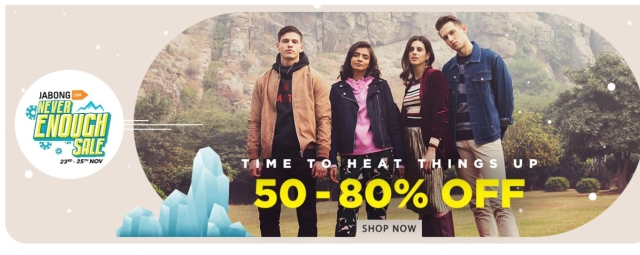 Jabong gives you 50 to 70 percent off till 25 Nov.