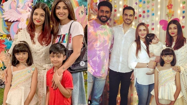 The Bachchans with Shilpa Shetty, Esha Deol and their families on Aaradhya's birthday.