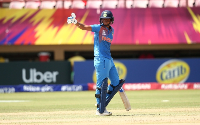 Harmanpreet Kaur during her innings against New Zealand at the Women's World T20.
