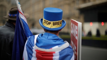 An anti-Brexit supporter Steve Bray from south Wales protests outside the Houses of Parliament in London.
