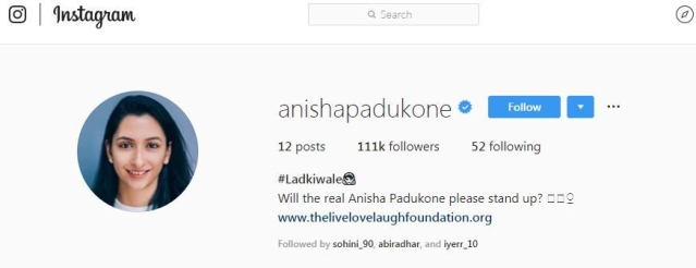 A sreenshot from Anisha Padukone's Instagram account