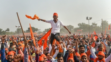 People gather in Ayodhya as the demand for a speedy construction of the Ram Temple at the disputed Babri Masjid site.