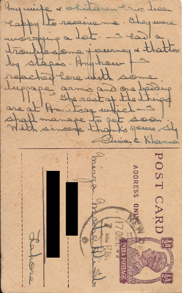 His letter to my great-grandfather expresses gratitude for the latter's help in arranging for his safe travel to Delhi and deep anguish for having to leave his motherland.