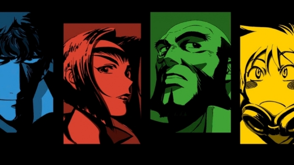 Spike, Faye, Jet, and Ed from Cowboy Bebop