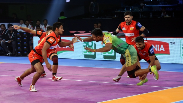 Patna Pirates held on to their lead of 35-32 to survive any late scare and won the match.