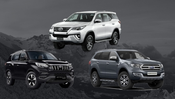 The newly launched Mahindra Alturas (Left), Ford Endeavour (Right) and the Toyota Fortuner (Top)