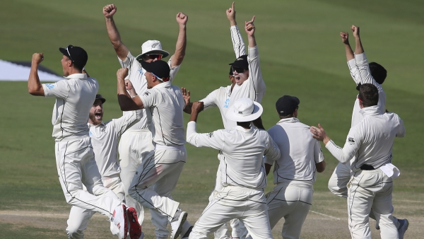 New Zealand players celebrate after beating Pakistan by 4 runs in the first Test in Abu Dhabi, United Arab Emirates, Monday, Nov. 19, 2018.