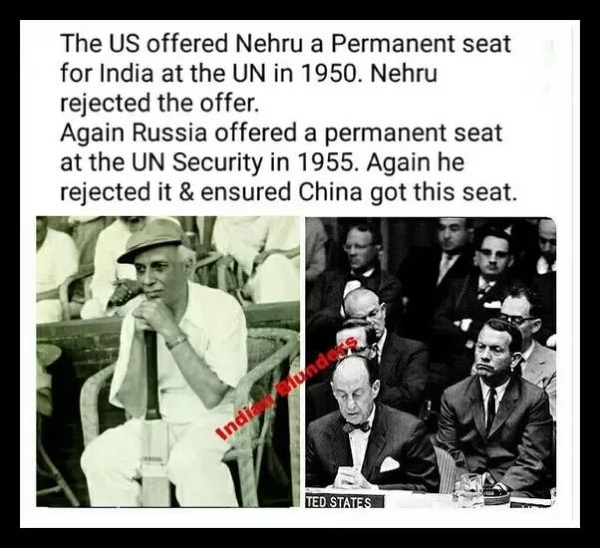 Did Nehru Reject Offers for a Permanent Seat in the UNSC