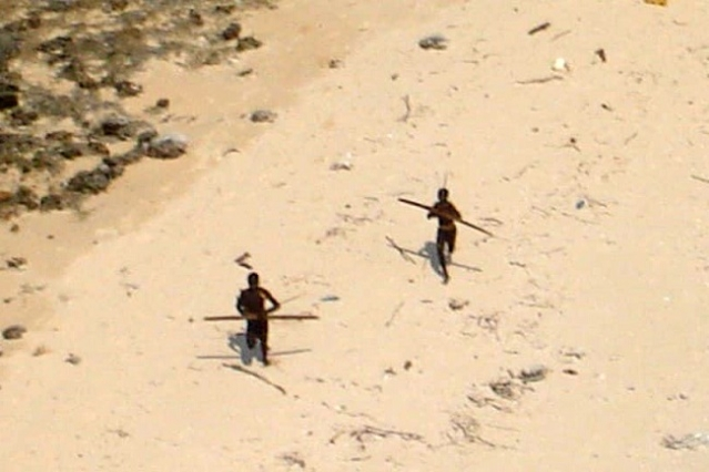 Tribes persons photographed at the North Sentinel island.