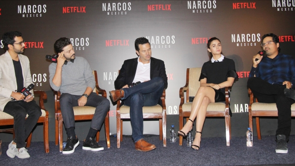 (From L to R) Shakun Batra, Diego Luna, Eric Newman, Alia Bhatt and Michael Pena at the panel discussion for <i>Narcos: Mexico</i>.