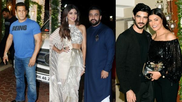 Salman Khan and Sushmita Sen were among the celebs who came to party with Shilpa Shetty and Raj Kundra.