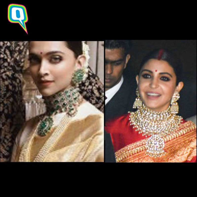 The statement neck-pieces that Deepika and Anushka sported on their respective receptions.