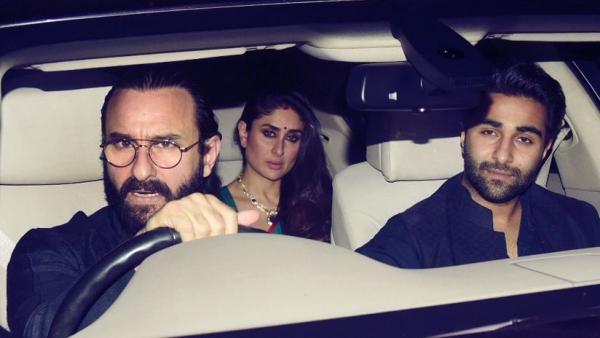 Saif, Kareena and Aadar Jain arrive at KJo's Diwali bash.