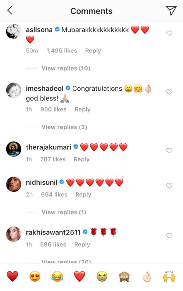 Sonakshi Sinha and Esha Deol wish the couple.