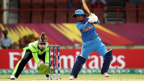 Mithali Raj plays a shot on the off-side during the World T20 match against Ireland.