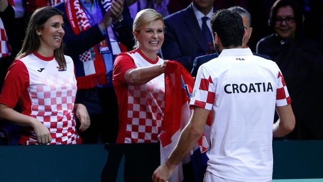 Croatia's President Kolinda Grabar-Kitarovic hugs Croatia's Marin Cilic after the Davis Cup final between France and Croatia on Sunday, November 25, 2018 in Lille.