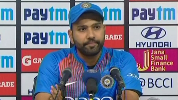 Rohit Sharma speaks to the media after India's T20I series win over West Indies.