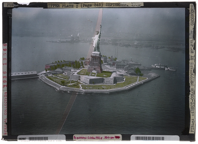 The first successful aerial color photograph — which shows the Statue of Liberty —used the Finlay process, 1931.