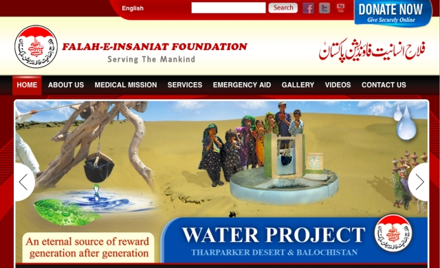 "A screenshot of Falah-e-Insaniat's <a href=""http://archive.is/TuHs"">website</a>, archived on Google cache.&nbsp;"