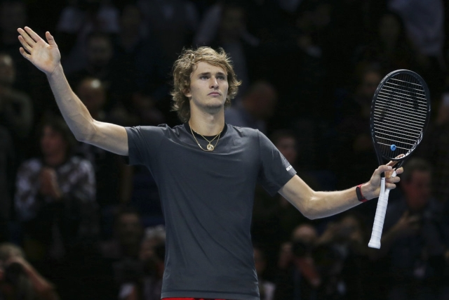 Alexander Zverev of Germany celebrates after beating Roger Federer.
