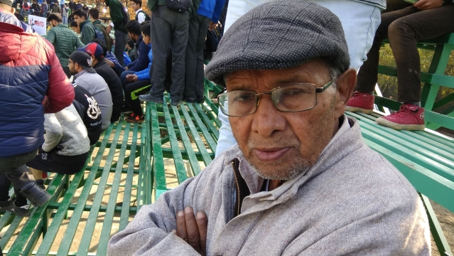 Muhammad Amin Wadoo at the I-League match between Real Kashmir and Churchil Brothers in Srinagar on Tuesday, 6 November.