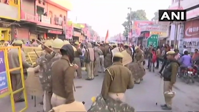 Security has been tightened in Ayodhya ahead of the VHP and Shiv Sena events today.