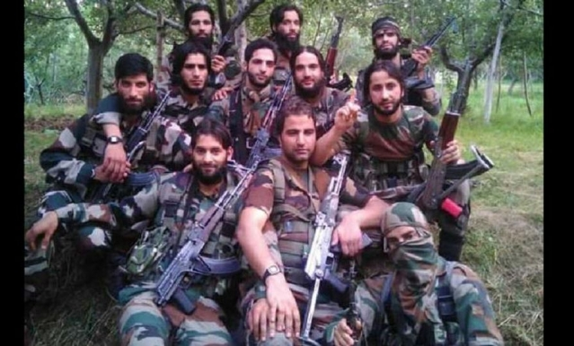 A picture of new recruits of Hizbul Mujahideen in July 2018.