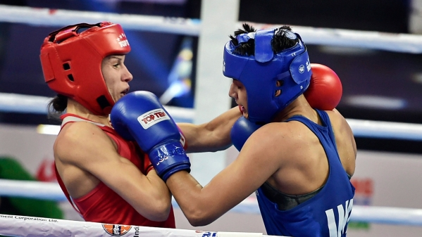 Bulgaria's Stanimira Petrova fights against India's Sonia Chahal.