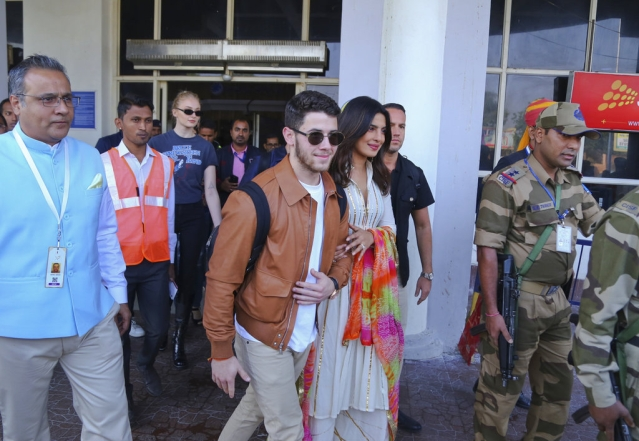 Priyanka Chopra and Nick Jonas arrive in the city where they are reportedly set to wed.
