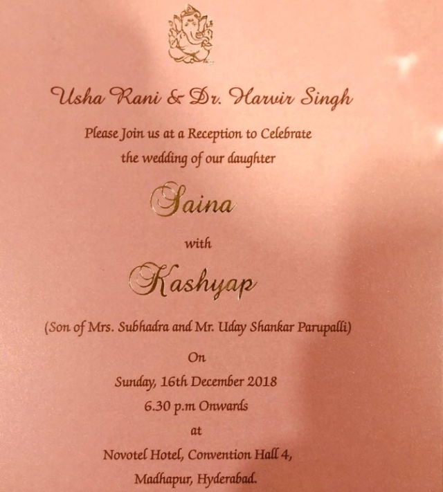 The invitation to Saina Nehwal and Parupalli Kashyap's wedding, as sent out by Saina's parents.