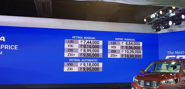 Here's the price list of the all the variants of the new Ertiga 2018.