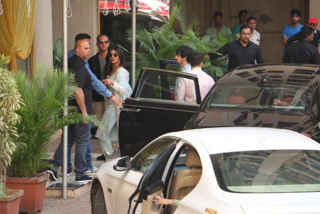 Priyanka Chopra arrives for the puja at her residence.