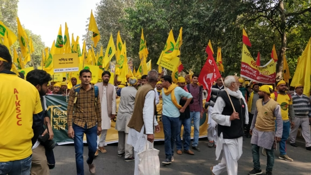 Farmers marching towards the Parliament street.