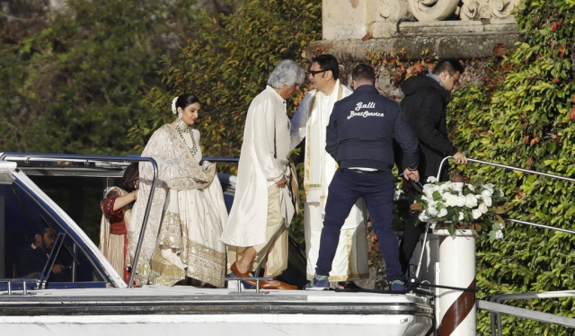 Ranveer Singh's parents make their way to Villa Balbianello.