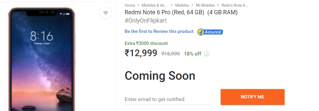 Redmi Note 6 Pro 'coming soon'.