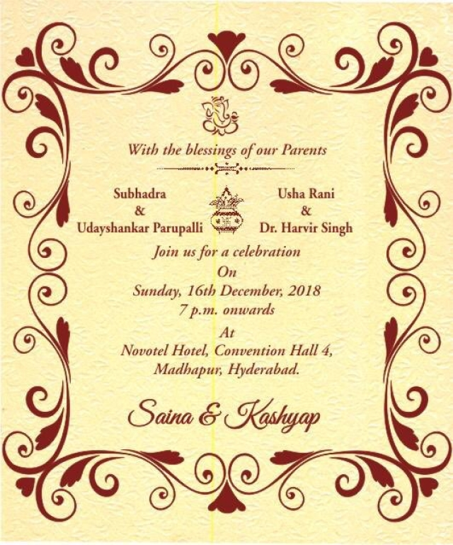 Revealed! Saina Nehwal and Parupalli Kashyap's wedding invite.