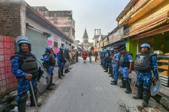 The security on the streets of Ayodhya.