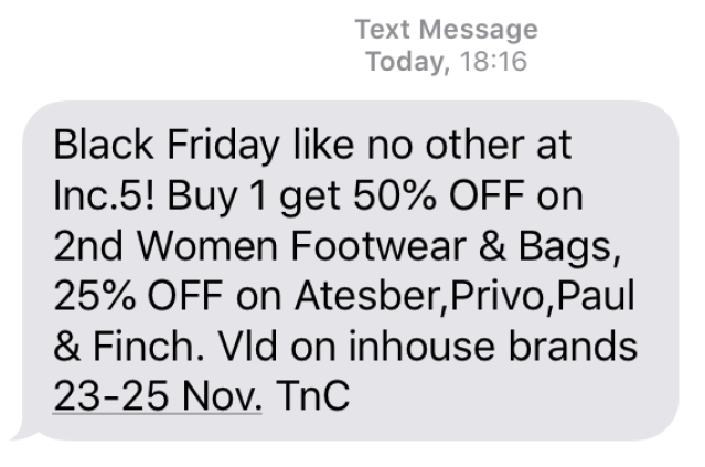 Black Friday offer SMSes from retailers.