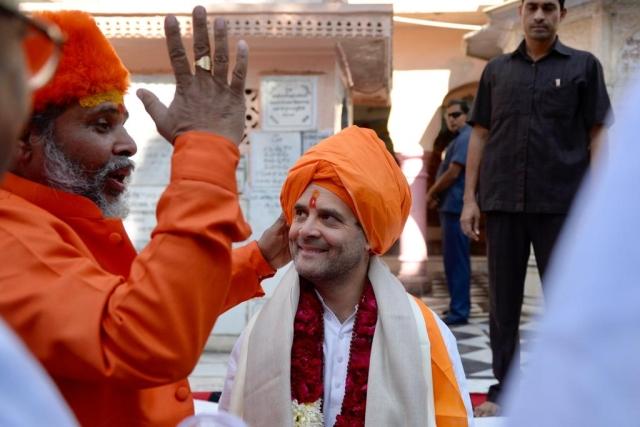 Congress President Rahul Gandhi at Jagatpita Brahma Mandir, Pushkar during an election campaign in Rajasthan on Monday, 26 November.