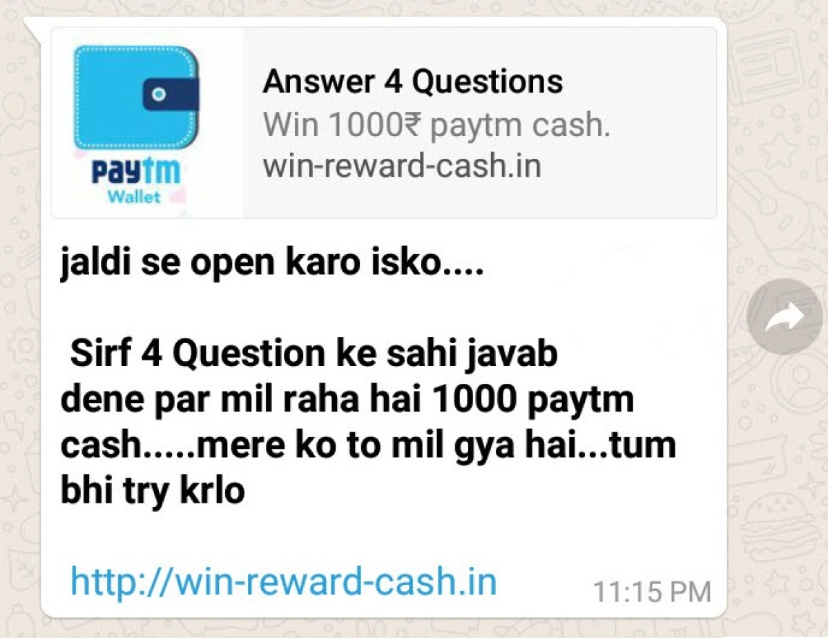 A Quiz that Offers Rs 1,000 on Paytm: Don't Fall For This Online Scam!