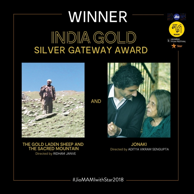 There was a tie for the Silver Gateway, India Gold between 'The Gold Laden Sheep and The Sacred Mountain' and 'Jonaki'.