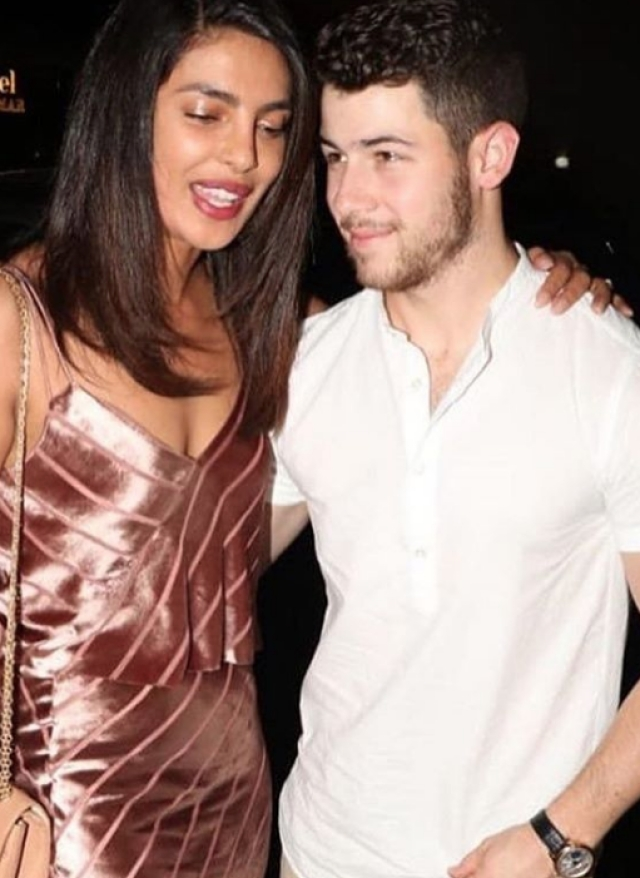 Priyanka Chopra and Nick Jonas were spotted outside a beachfront restaurant in Mumbai.