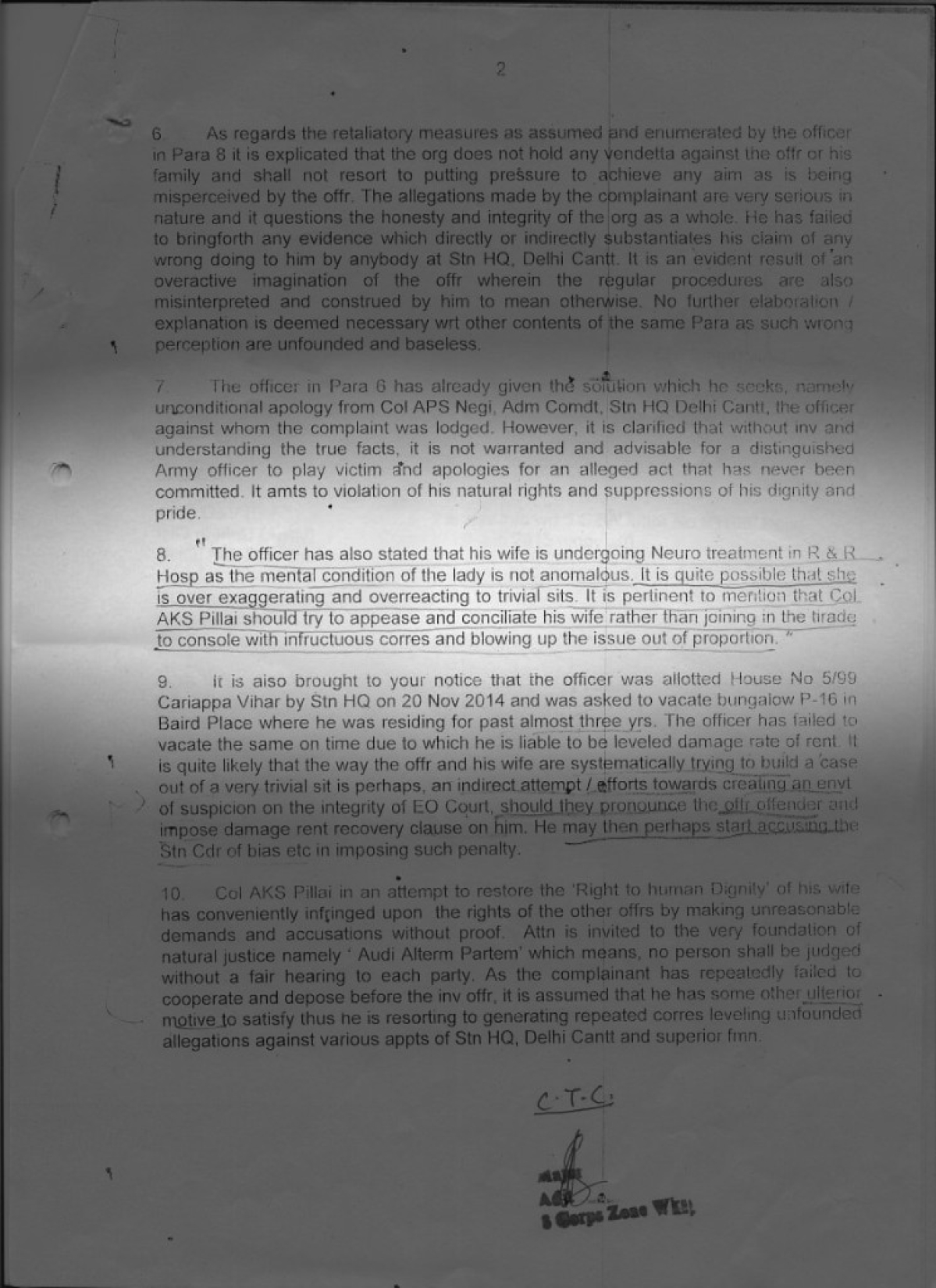 A copy of the letter written by Brigadier Singh to multiple Army commands.