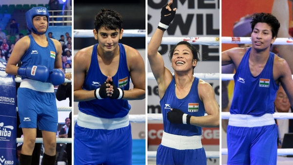 From left: Simranjeet, Sonia Chahal, Mary Kom and Lovlina Borgohain are assured of a medal at this edition of AIBA Women's World Boxing Championships in New Delhi.