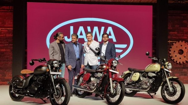 The three Jawa Motorcycles on stage at the launch.