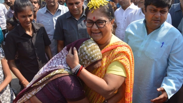 CM Vasundhara Raje meets common people during a public outreach programme ahead of polls.